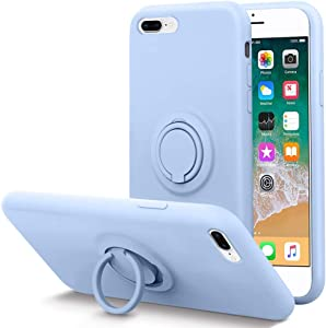 KUMEEK for iPhone 8 Plus Case/iPhone 7 Plus Case Fingerprint | Kickstand | Anti-Scratch | Microfiber Liner Gel Rubber Full Body Protection Liquid Silicone Case for iPhone 8 Plus/7 Plus-Light Blue