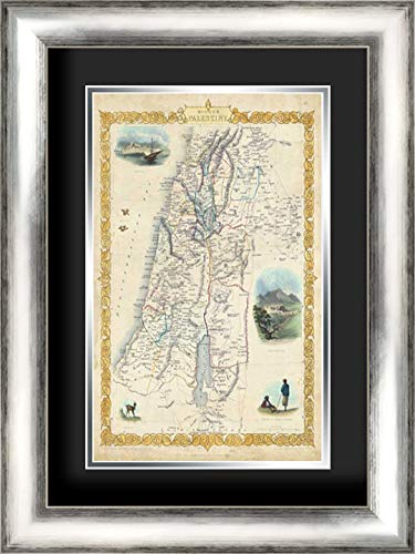 (Vintage Map of Palestine 18x24 Silver Contemporary Wood Framed and Double Matted (Black Over Silver) Art Print by Rapkin,)