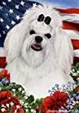 Cheap Maltese Dog Breed Patriotic House Flag 28 x 40 Inches