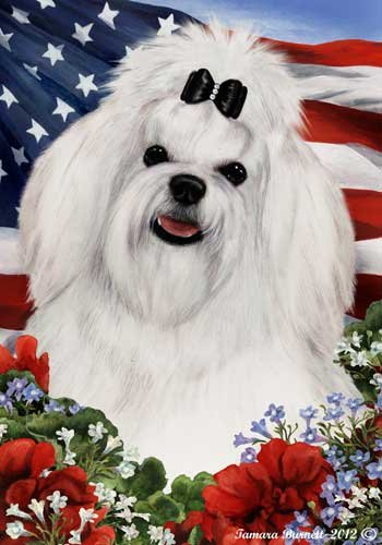 Maltese Dog Breed Patriotic House Flag 28 x 40 Inches