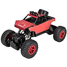 Virhuck RC Cars 1/18 Scale 4WD Rock Crawler with Metal Shell DIY Graffiti, 2.4GHz Off-road Vehicle Monster Truck Electric Rock Crawler Desert Buggy for Kids, Red