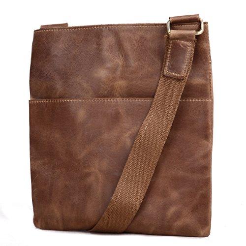 Leathario bolso portátil de moda de cuero de primer capa de caballo loco colgado de hombros para hombres usado al diario(café) MARRÓN
