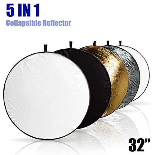 LimoStudio 32' 5-in-1 Photography Collapsible Light Disc Reflector, 5 Colors White, Black, Silver, Gold, Translucent, AGG807