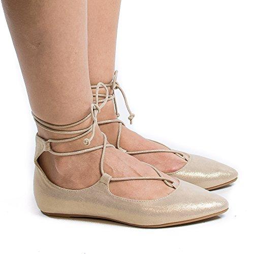 Pointy Toe Corset Lace Up Leg Wrap Ballerina Flats Gold Fab HzvoC5z