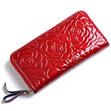 [KIREI obsession] Women's, Long Wallet, Rose Embossed, Patent Leather [IN GIFT BOX] [6 Colours]
