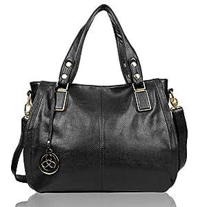 EGOGO Ladies Women's Tote Bag Leather Shoulder Bag Shopping Handbag E522-6 (Black)