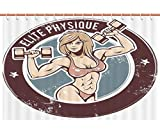 Flip Flop Shower Curtain Cool Shower Curtain [ Fitness,Retro Style Sexy Lady with Dumbbells Elite Physique Grunge Display Decorative,Chocolate Light Pink Blue ] Polyester Fabric Kids Bathroom Curtain Designs