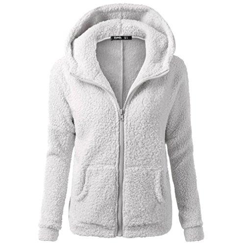 kaifongfu Winter Coat Women, Hooded Sweater Coat Winter Warm Wool Zipper Coat Cotton Outwear (Light Gray, XL5) -