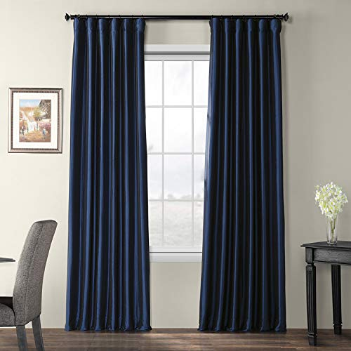 (Half Price Drapes PTCH-BO194010-96 Blackout Faux Silk Taffeta Curtain, Navy)