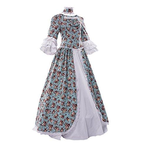 Blumen Gothic Grün Trompete Ballkleid Kleid Damen Lolita Aermel Maskerade Partiss w7YtzqA