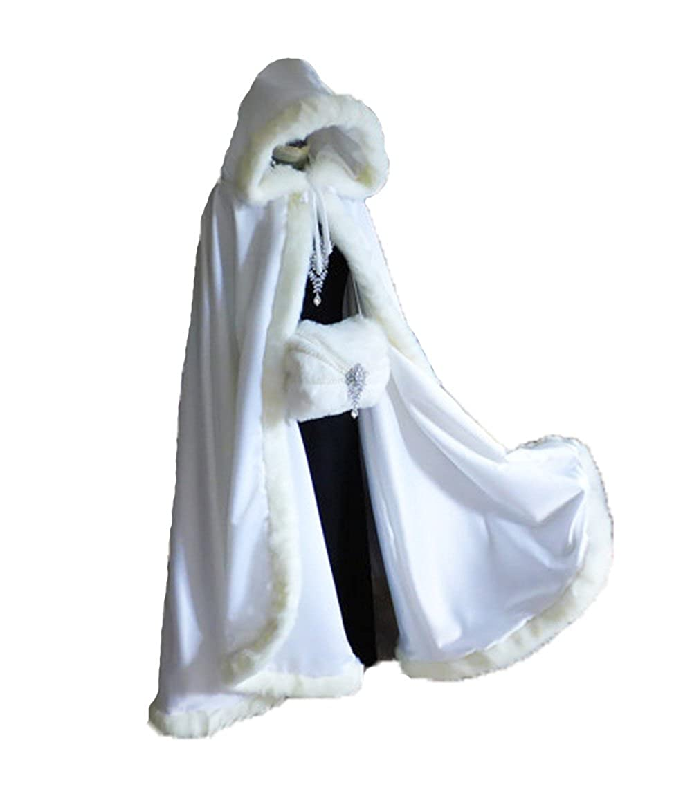 Wedding Cloak Velvet White Long Bridal Cape with Hood Faux Fur Winter Wrap Stole
