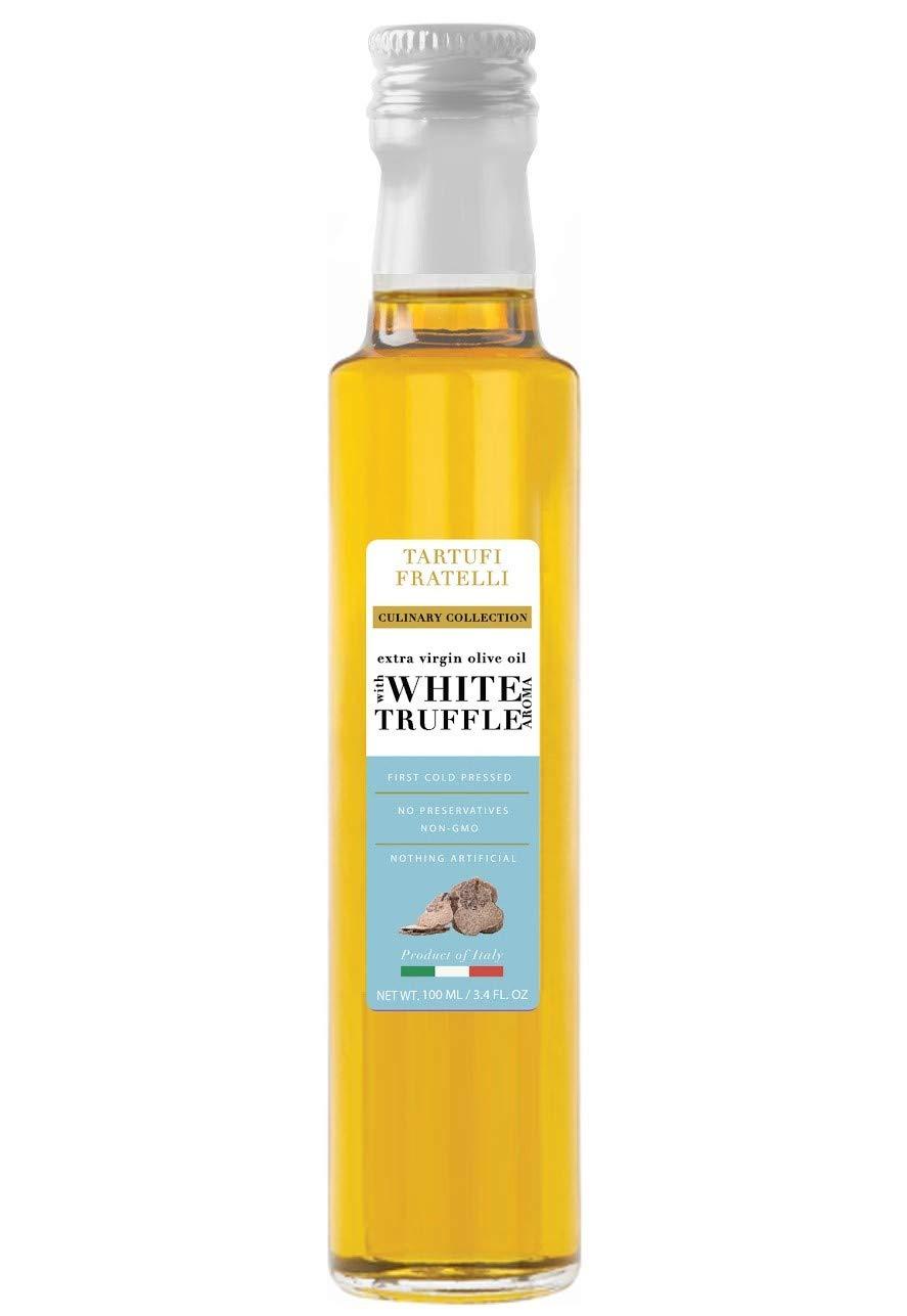 TARTUFI FRATELLI White Truffle Oil 3.4 oz. (100ml) EVOO Extra Virgin Olive Oil, Non-GMO, Product of Italy, Gourmet Food Quality, Vegan , Vegetarian