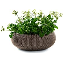 """Keter Cozies Large Plastic Knit Texture 21"""" Planter Bowl with Removable Liner, Harvest Brown"""