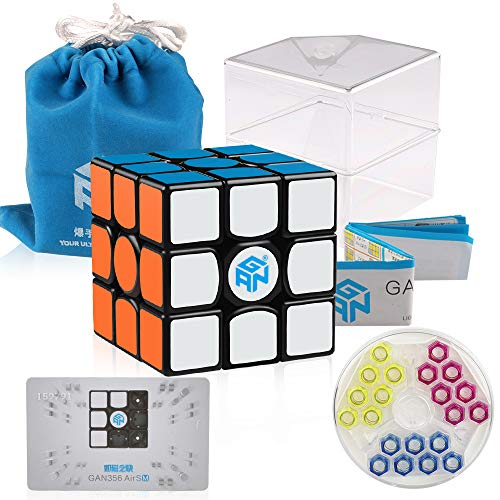 D-FantiX Gan 356 Air SM Speed Cube 3x3 Gans 356 Air S Magnetic Cube 3x3x3 Puzzle Toy Black (2019 Upgraded Version)