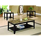 Coaster Transitional Three Piece Occasional Table Set with Shelf and Marble Look Top