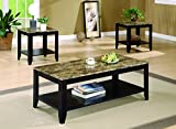 Coaster Home Furnishings 3-piece Occasional Table Set with Shelf and Marble Look Top Cappuccino