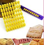 5'' Long Cookie Stamps Stamp Cutter Cake Decorating Supplies Alphabet & Number 73 pcs Press Set Including Holder Pastry Tools Yellow