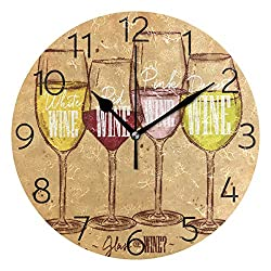 MOYYO Vintage Wine Wall Clock 9.8 Inch Silent Round Wall Clock Battery Operated Non Ticking Creative Decorative Clock for Kids Living Room Bedroom Office Kitchen Home Decor