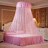 Blueyouth Princess Bed Valance, Hanging Round Lace Canopy Bed Netting Mosquito Net Dome Comfy Mosquito Net for Child Student Crib Twin Queen Bed
