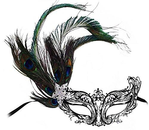 Shona Laser-Cut Metal Black Venetian Peacock Masquerade Mask (Peacock Masquerade Costume)
