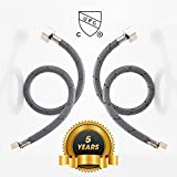 kitchen faucet hose connector - Desfau 20-Inch Long Faucet Connector, cUPC Braided Supply Hose, 3/8 Female Compression Thread x 1/2 I.P. Female Straight Thread, Faucet Hose Connector (1 Pair)