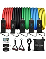 Polygon Resistance Bands Set, Exercise Tubes with Handles, Door Anchor and Ankle Straps - Stackable Up to 150 lbs - Workout Bands for Resistance Training, Physical Therapy, Home Workouts
