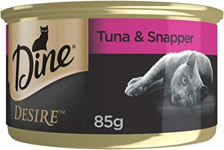 DINE Desire Tuna Whitemeat and Snapper Wet Cat Food 85g Can 24 Pack