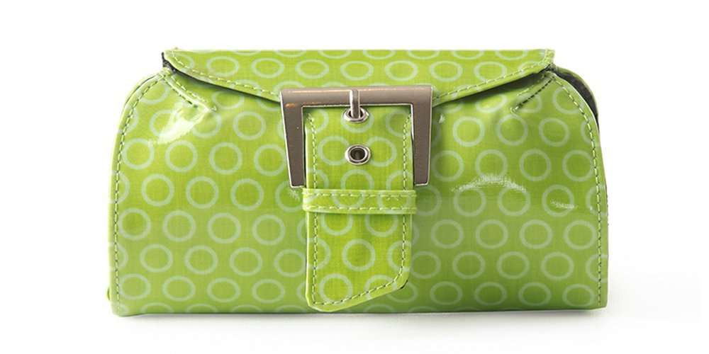 In A Pikle Dill in Lime Green Circles With Interior Pouches and Coordinating Wristlet
