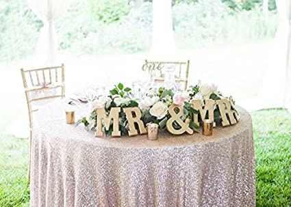 Merveilleux B COOL Round Sequin Tablecloths 50u0026quot; Champagne Blush Glitter Ceremony  Tablecloth Wedding/Party