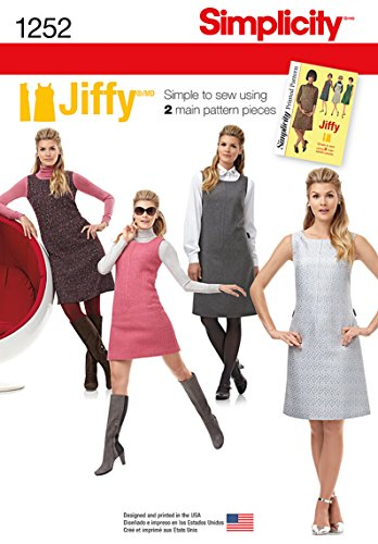 (Simplicity Jiffy Pattern 1252 Misses Miss Petite Dress or Jumper, Sizes 6-8-10-12-14)