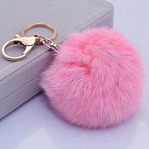 Miraclekoo Rabbit Fur Ball Pom Pom Key Chain Gold Plated Keychain with Plush for Car Key Ring or Handbag Bag Decoration (Pink)