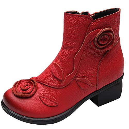 (Mordenmiss Women's Handmade Rose Boots Vintage Floral Chunky Oxford Bootie 40 Red)