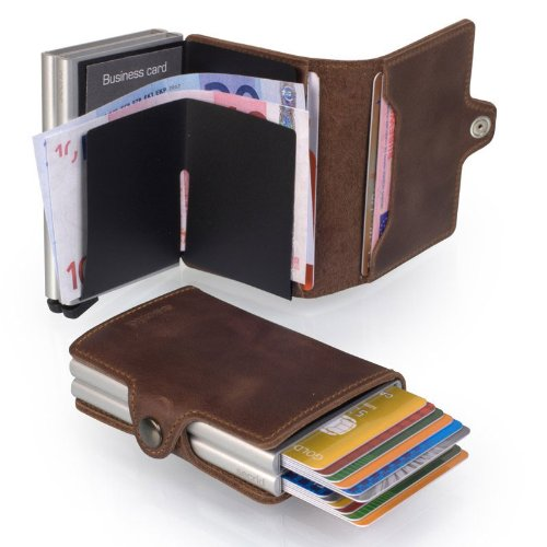 nuovo prodotto 8b353 fffa5 Secrid Men Twin Wallet Genuine Leather Vintage RFID Safe Card Case for max  16 cards