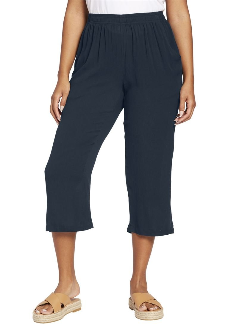 Women's Plus Size Crinkle Capri Pants