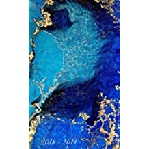 """2018 - 2019: Two-Year Monthly Pocket Planner: 24-Month Calendar, Notes and  Phone book,  U.S. Holidays, Size : 4.0"""" x 6.5"""", Hand Lettering and Calligraphy ( Marble )"""
