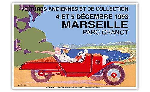 Marseille, France - Voitures Anciennes et de Collection (Old Cars and Collectibles) - Cyclecar Morgan - Vintage Advertising Poster by Léo Bouillon c.1993 - Master Art Print - 13in x 19in