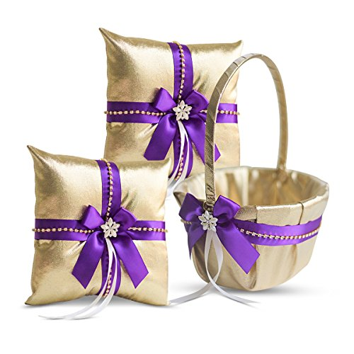 Alex Emotions Gold & Purple Jewel Wedding Ring Bearer Pillow and Flower Girl Basket Set – Satin & Ribbons – Pairs Well with Most Dresses & Themes – Splendour Every Wedding Deserves