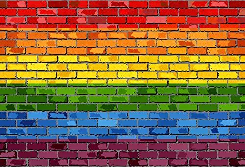 (Baocicco Rainbow Backdrop Gay Colorful Cartoon Brick Wall Horizontal Background 8x6.5ft Photography Studio Gay Lesbian Bisexual Backdrop Gay Backdrop Solid Color Backdrop)