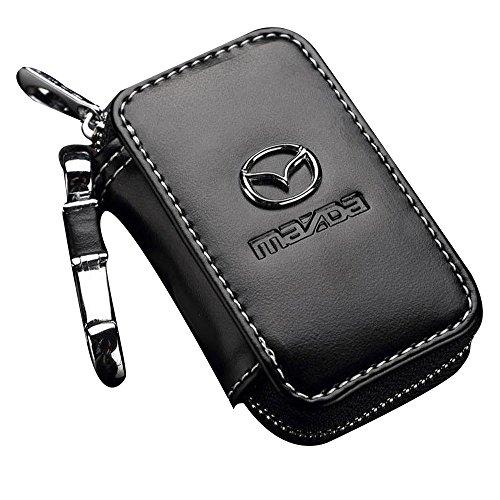 SHANG MEDING Black Premium Leather Car Key Chain Coin Holder Zipper Case Remote Wallet Bag (Mazda)