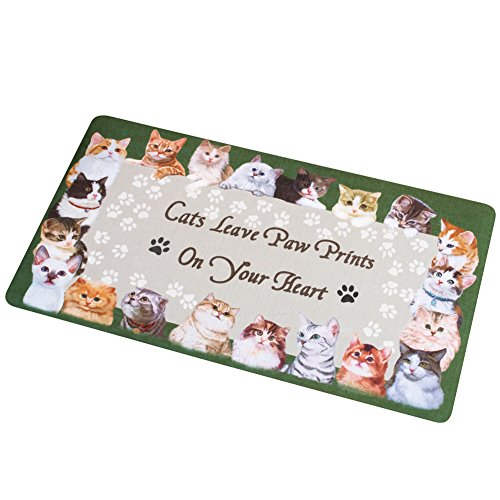 Collections Etc Cat Paw Prints On Your Heart Skid-Resistant Rug - Kitchen Collection Print