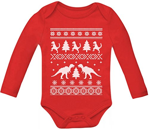 amazoncom teestars ugly christmas sweater trex baby long sleeve bodysuit newborn red clothing