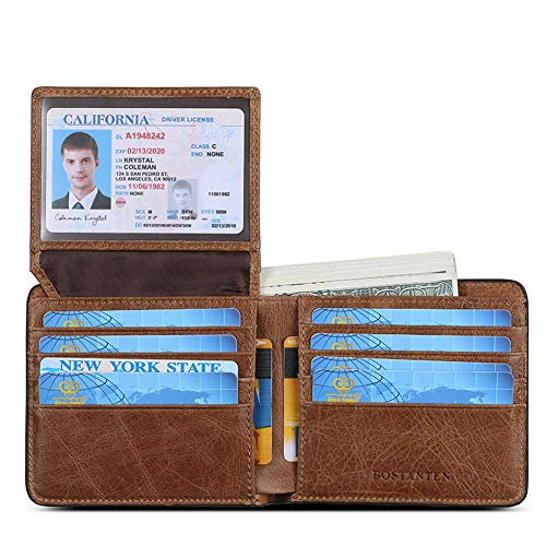 BOSTANTEN Genuine Leather Wallets for Men Bifold RFID Blocking Wallet with 2 ID Window Brown (Cow Leather Mens Wallets)