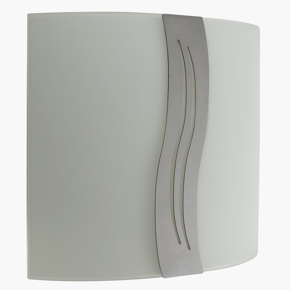 Contemporary Curved Wall Flush Fitting With A Stunning Light Filtering White Frosted Glass And Decorative Chrome Strip Pattern Design Shade MiniSun