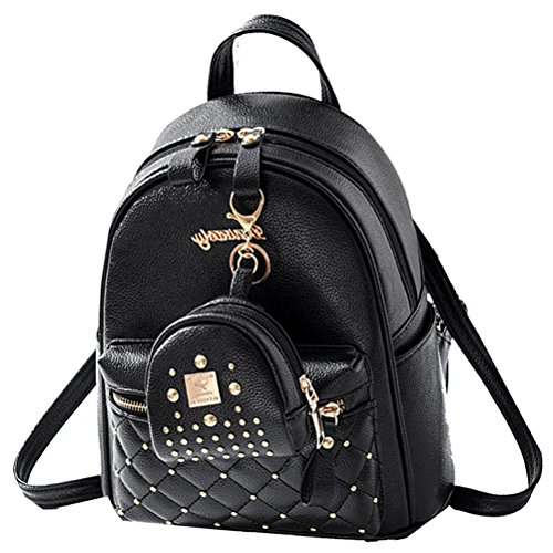 Donalworld Women Backpacks Girl Casual Flower Print PU Leather School Bags Small Col8 Black2