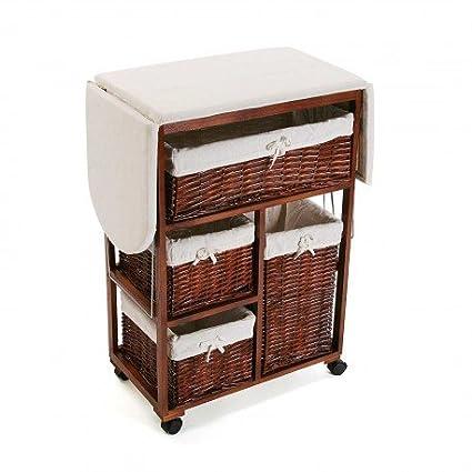 SuskaRegalos- Mueble de Plancha Ruedas Mimbre: Amazon.es: Hogar