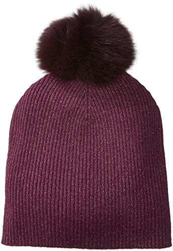 Sofia Cashmere Women's Cashmere Fur Pom Hat-Slouchy, Magic Berry + Gold Lurex/Plum, One by Sofia Cashmere