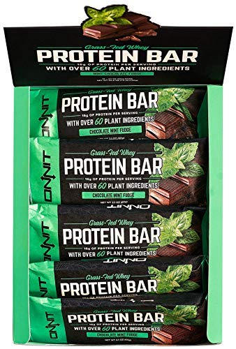 New! Onnit Protein Bars (Chocolate Mint Fudge - Box of 12) | Made with Grass Fed Whey & over 60 Plant Ingredients | 16g Protein Per Bar