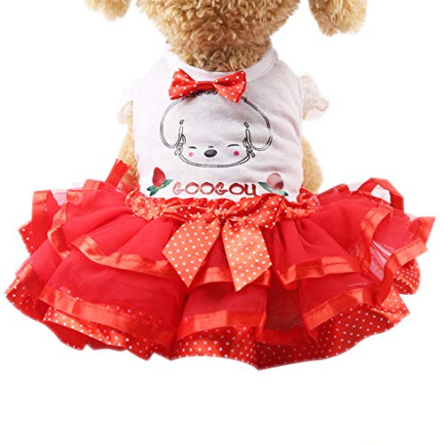 FakMe Adorable Dog Dress Clothes Grid Skirt for Small Medium Pet Dog Princess Dress Clothes ()