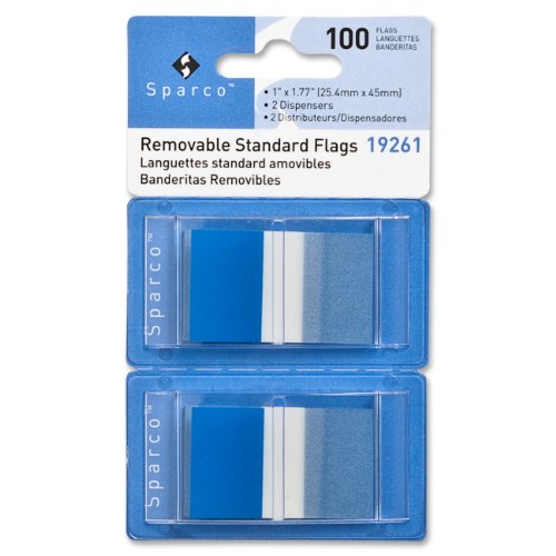 Sparco Pop-up Removable Standard Flags, 1-Inch, 100per Pack, Blue(SPR19261) ()