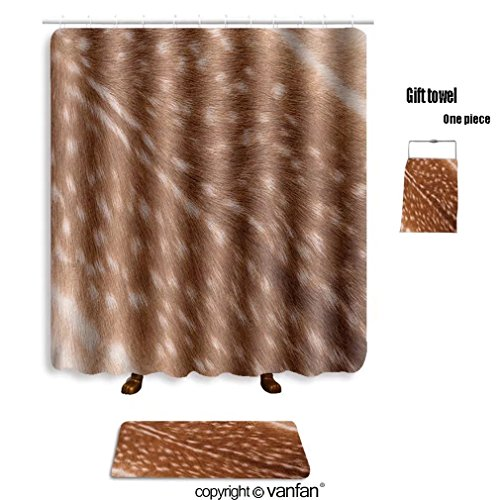 vanfan bath sets with Polyester rugs and shower curtain texture of real axis sika deer fur 403662616 shower curtains sets bathroom 72 x 84 inches&31.5 x 19.7 inches(Free 1 towel and 12 hooks)